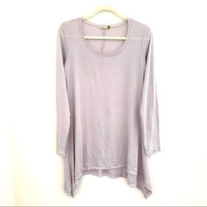 Chalet tunic raw hem lightweight silver grey soft